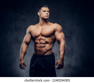 A handsome power athletic man with the muscular body
