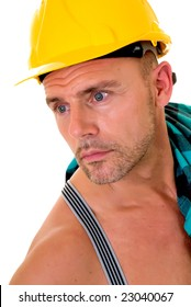 Handsome pre middle aged construction worker, white background,  studio shot.