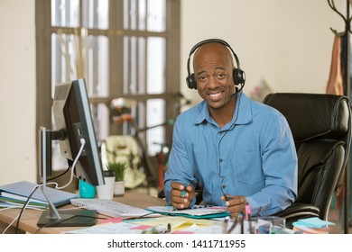 Handsome professional man wearing a headset