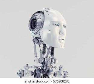Handsome robotic man 3d render