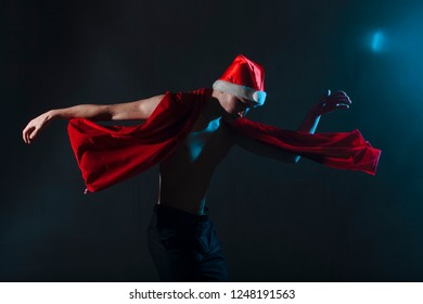 Handsome santa claus guy sexy young bearded macho christmas man model