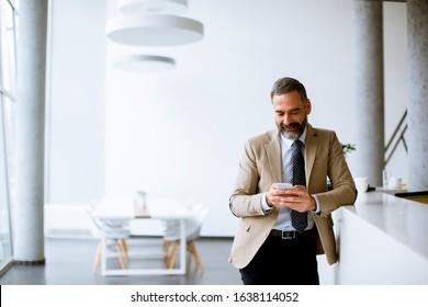 Handsome senior businessman using mobile phone in modern office