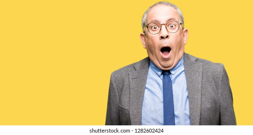 Handsome senior businesss man wearing glasses and tie afraid and shocked with surprise expression, fear and excited face.