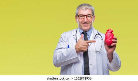 Handsome senior cardiologist doctor man holding heart over isolated background very happy pointing with hand and finger