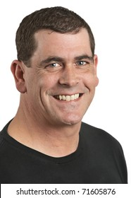 Handsome smiling adult man closeup on white background