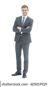 Handsome smiling business man with arms crossed isolated on white