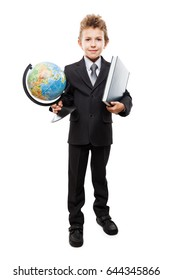 Handsome smiling child boy in business suit hand holding planet Earth globe and education reading book white isolated