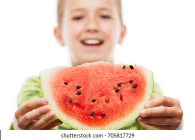 Handsome smiling child boy hand holding red ripe watermelon fruit food slice white isolated