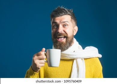 Handsome smiling man with cup of coffee/tea. Taking coffee break. Cheerful bearded man in with mug aromatic coffee in hands. Attractive man in sweater and scarf hold cup with hot beverage. Copy space.