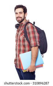 Handsome smiling student on white background