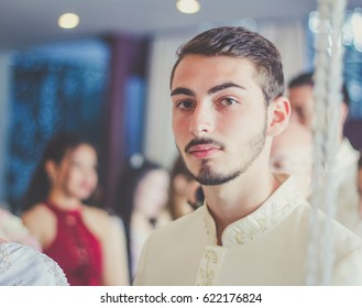 Handsome smiling young man studio portrait / soft focus picture / Vintage concept