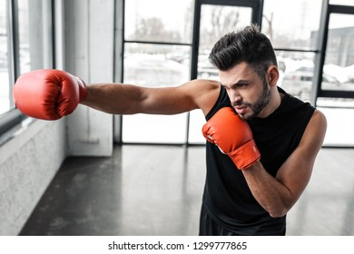 handsome sporty young man in boxing gloves training in gym