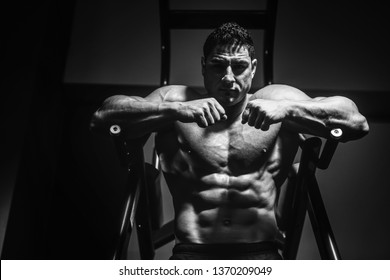 Handsome strong athletic men pumping up muscles workout push ups on bars bodybuilding concept background - muscular bodybuilder men doing exercises in gym naked torso