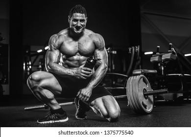 Handsome strong athletic men pumping up muscles workout bodybuilding concept background - muscular bodybuilder handsome men doing exercises in gym naked torso