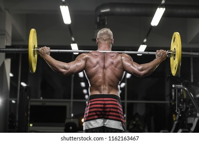 Handsome strong bodybuilder athletic man pumping up muscles workout bodybuilding concept background - muscular bodybuilder handsome men doing exercises in gym naked torso sport and diet concept