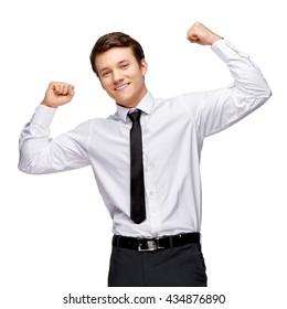 Handsome stylish businessman on white background