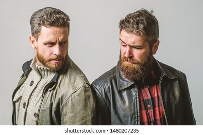 Handsome stylish and cool. Masculine and brutal friends. Bully team. Masculinity and brutality. Feel confident in brutal leather clothes. Brutal men wear leather jackets. Men brutal bearded hipster. - Shutterstock ID 1480207235