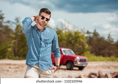 handsome stylish man in sunglasses,