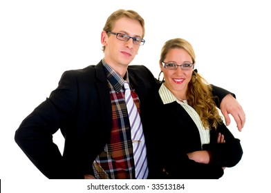 Handsome successful young businesspeople in suit, studio shot.