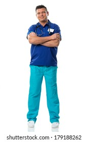 Handsome surgeon in blue special work wear