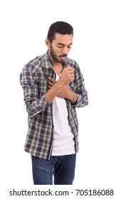 Handsome tired beard young man coughing, guy wearing caro shirt and jeans, isolated on white background