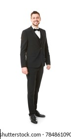 Handsome waiter on white background