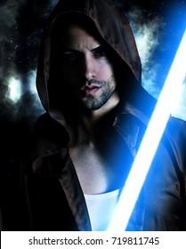 Handsome warrior holding a blue lightsaber