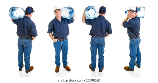 Handsome water delivery man carrying five gallon jug of water over his shoulder.  Four full body views isolated on white.