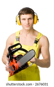 A handsome worker(lumberjack), isolated on white