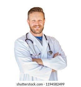 Handsome Young Adult Male Doctor With Beard Isolated On A White Background.