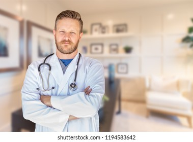 Handsome Young Adult Male Doctor With Beard Inside Office.