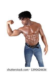 A handsome young African man standing in jeans and shirtless flexinghis biceps with his curly black hair, isolated for white background