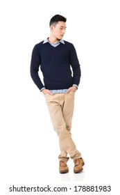 Handsome young Asian man, full length portrait isolated on white background.