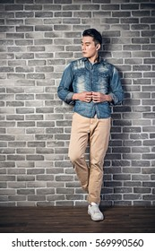 handsome young Asian man, full length portrait