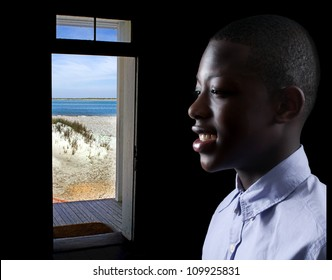 Handsome and young black African American stylish teenage boy