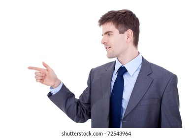 Handsome young business man pointing to his right side