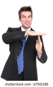 A handsome young business man signaling time-out