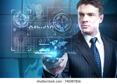 Handsome young businessman holding smartphone with abstract digital business screen. Finance concept. Double exposure