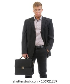 Handsome young businessman. Isolated on a white background