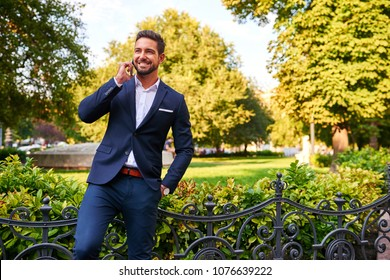 A handsome young businessman talking on his phone and standing at the side of a park