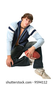 handsome young college student holding football isolated