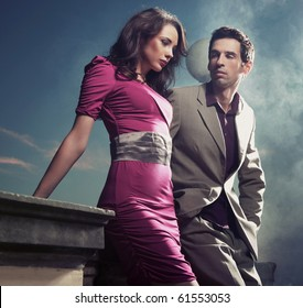 Handsome young couple standing