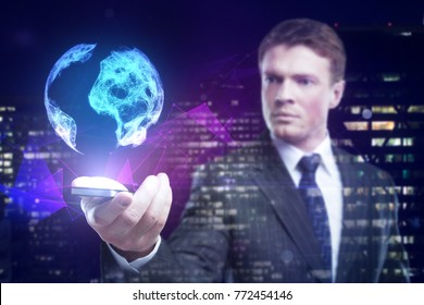 Handsome young european businessman holding smartphone with polygonal globe on abstract night city background. Global business concept. Double exposure