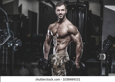 Handsome Young Fit Muscular Caucasian Man Of Model Appearance Workout Training In The Gym Gaining Weight