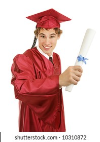 Handsome young graduate holding his diploma.  Isolated on white.