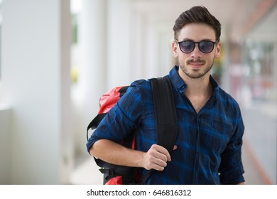 Handsome Young Guy With Backpack at Station