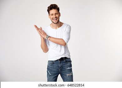 Handsome young guy posing in studio - isolated