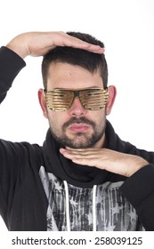 Handsome young guy wearing golden glasses