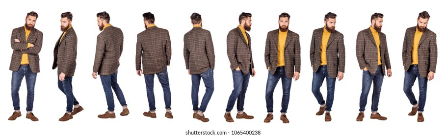 Handsome young man with beard full height standing against white background. human emotion expression and lifestyle concept.
