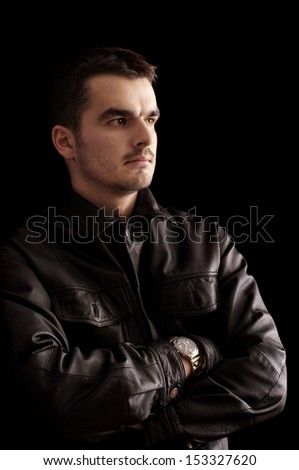 Handsome Young Man Black Leather Jacket Stock Photo Edit Now